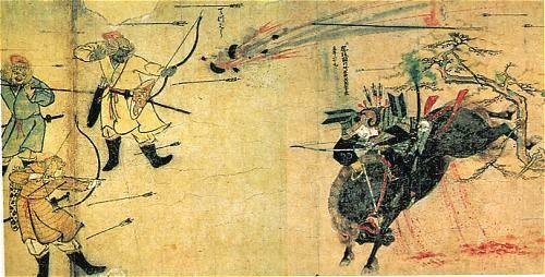 An Image from Japanese Martial Arts History. The Suenaga Scroll shows an earl samurai on horseback with box and arrows.