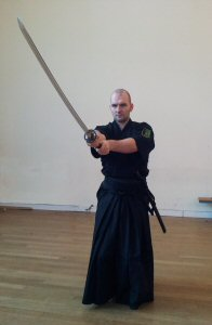 Delivering a Men Cut in the Iaido Dojo