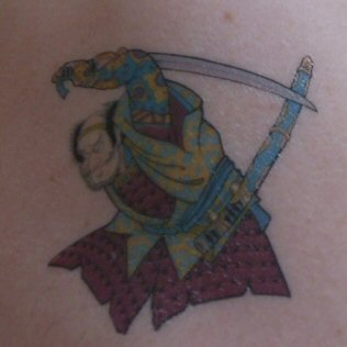 A Samurai Tattoo on my shoulder - The samurai warrior Egara no Heita battling a Giant Serpent